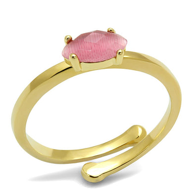 LO4069 - Flash Gold Brass Ring with Synthetic Cat Eye in Rose