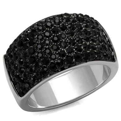 LO4086 - Rhodium+Hematite Brass Ring with Top Grade Crystal  in Jet