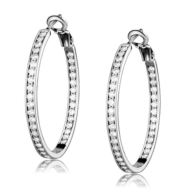 LO4119 - Rhodium Brass Earrings with AAA Grade CZ  in Clear