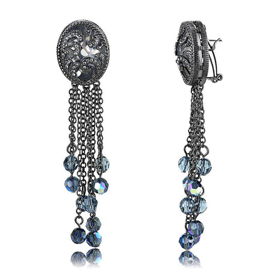 LO4199 - TIN Cobalt Black Brass Earrings with AAA Grade CZ  in Clear