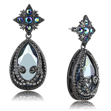 LO4201 - TIN Cobalt Black Brass Earrings with AAA Grade CZ  in Clear