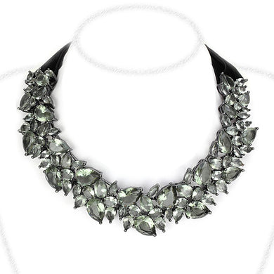LO4208 - TIN Cobalt Black Brass Necklace with Synthetic Synthetic Glass in Black Diamond