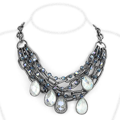 LO4211 - TIN Cobalt Black Brass Necklace with AAA Grade CZ  in Clear