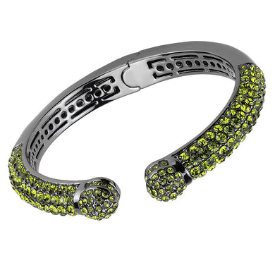 LO4284 - TIN Cobalt Black Brass Bangle with Top Grade Crystal  in Olivine color