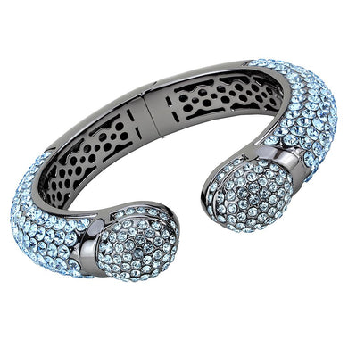 LO4289 - TIN Cobalt Black Brass Bangle with Top Grade Crystal  in Sea Blue