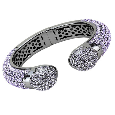 LO4292 - TIN Cobalt Black Brass Bangle with Top Grade Crystal  in Amethyst