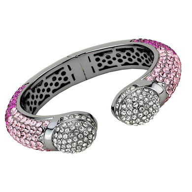 LO4293 - TIN Cobalt Black Brass Bangle with Top Grade Crystal  in Multi Color