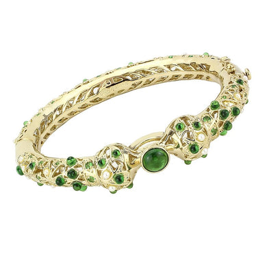 LO4300 - Gold Brass Bangle with Assorted  in Emerald