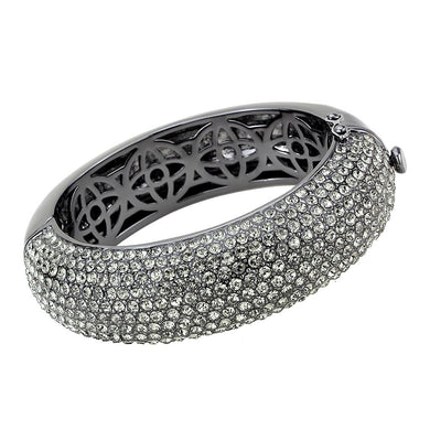 LO4304 - TIN Cobalt Black Brass Bangle with Top Grade Crystal  in Black Diamond