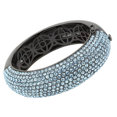 LO4305 - TIN Cobalt Black Brass Bangle with Top Grade Crystal  in Sea Blue