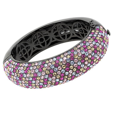 LO4306 - TIN Cobalt Black Brass Bangle with Top Grade Crystal  in Multi Color