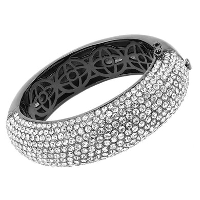 LO4308 - TIN Cobalt Black Brass Bangle with Top Grade Crystal  in Clear