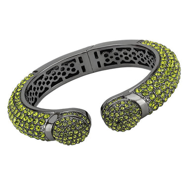 LO4314 - TIN Cobalt Black Brass Bangle with Top Grade Crystal  in Peridot