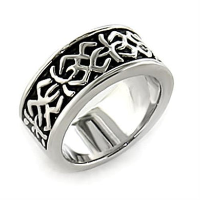LO437 - Rhodium White Metal Ring with No Stone