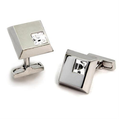 LO447 Rhodium Brass Cufflink with Top Grade Crystal in Clear