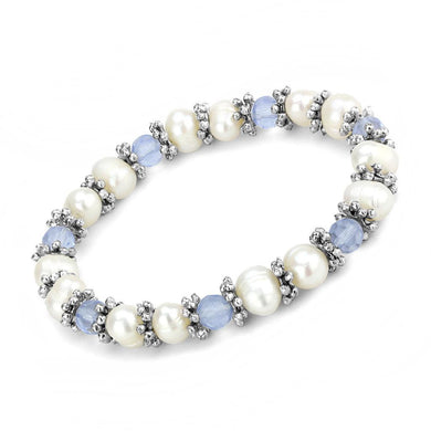 LO4652 - Antique Silver White Metal Bracelet with Synthetic Pearl in Sea Blue