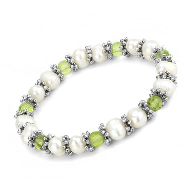 LO4653 - Antique Silver White Metal Bracelet with Synthetic Pearl in Olivine color
