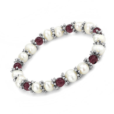 LO4654 - Antique Silver White Metal Bracelet with Synthetic Pearl in Fuchsia