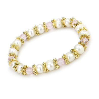 LO4655 - Antique Silver White Metal Bracelet with Synthetic Pearl in Rose