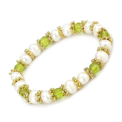 LO4656 - Antique Silver White Metal Bracelet with Synthetic Pearl in Peridot