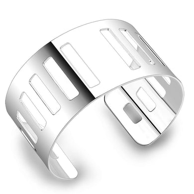LO4658 - Matte Rhodium & Rhodium Stainless Steel Bangle with No Stone