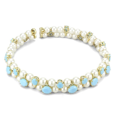 LO4661 - Gold Brass Necklace with Synthetic Glass Bead in White