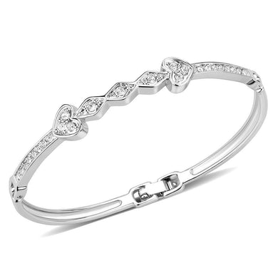 LO4664 Rhodium White Metal Bangle with Top Grade Crystal in Clear