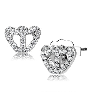 LO4673 - Rhodium Brass Earrings with Top Grade Crystal  in Clear