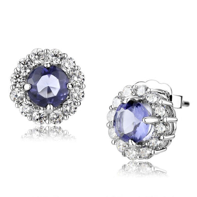 LO4674 - Rhodium Brass Earrings with Synthetic Synthetic Glass in Tanzanite