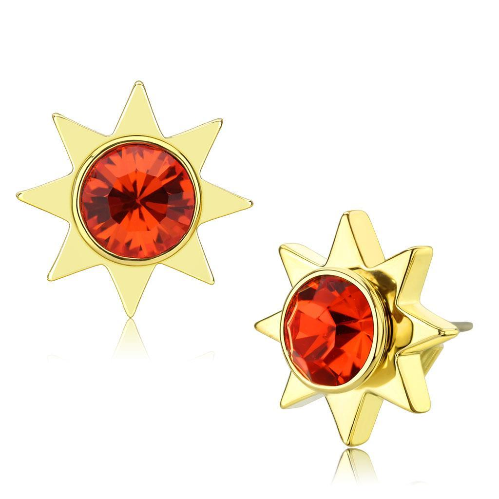 LO4675 - Gold Brass Earrings with Top Grade Crystal  in Orange