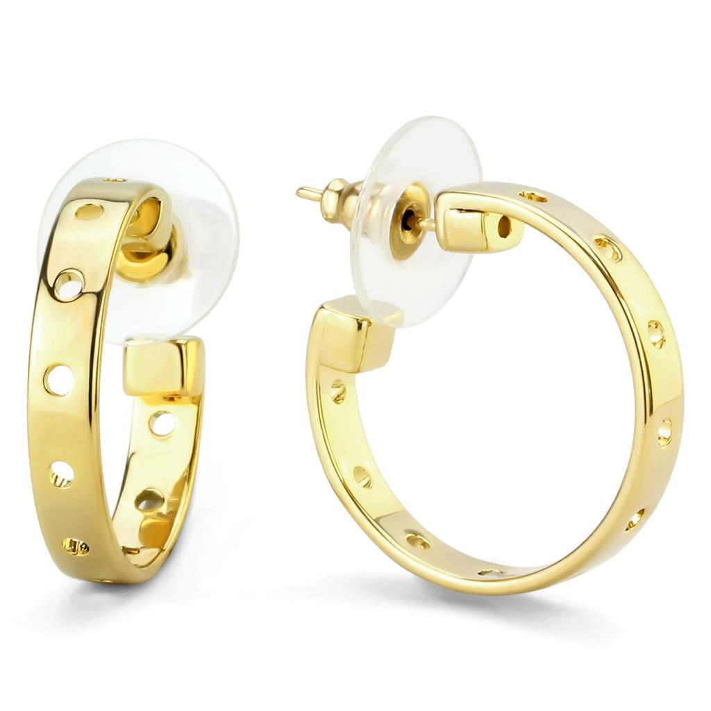 LO4681 - Gold Brass Earrings with No Stone
