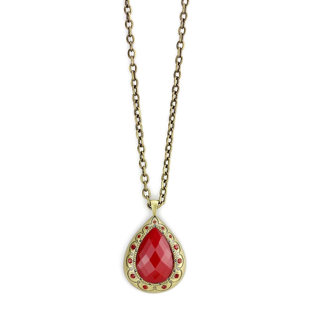 LO4686 - Antique Copper Brass Chain Pendant with Synthetic Synthetic Stone in Red Series