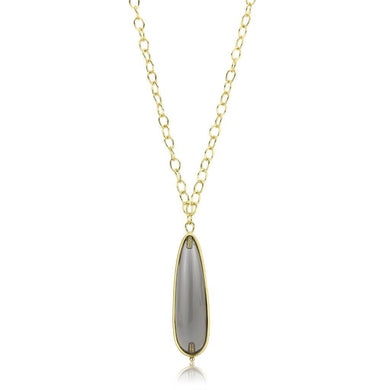 LO4687 - Gold & Brush Brass Chain Pendant with Synthetic Synthetic Stone in Gray
