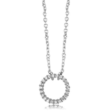 LO4691 - Rhodium Brass Chain Pendant with AAA Grade CZ  in Clear