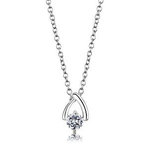 LO4692 - Silver+ e-coating Brass Chain Pendant with AAA Grade CZ  in Clear