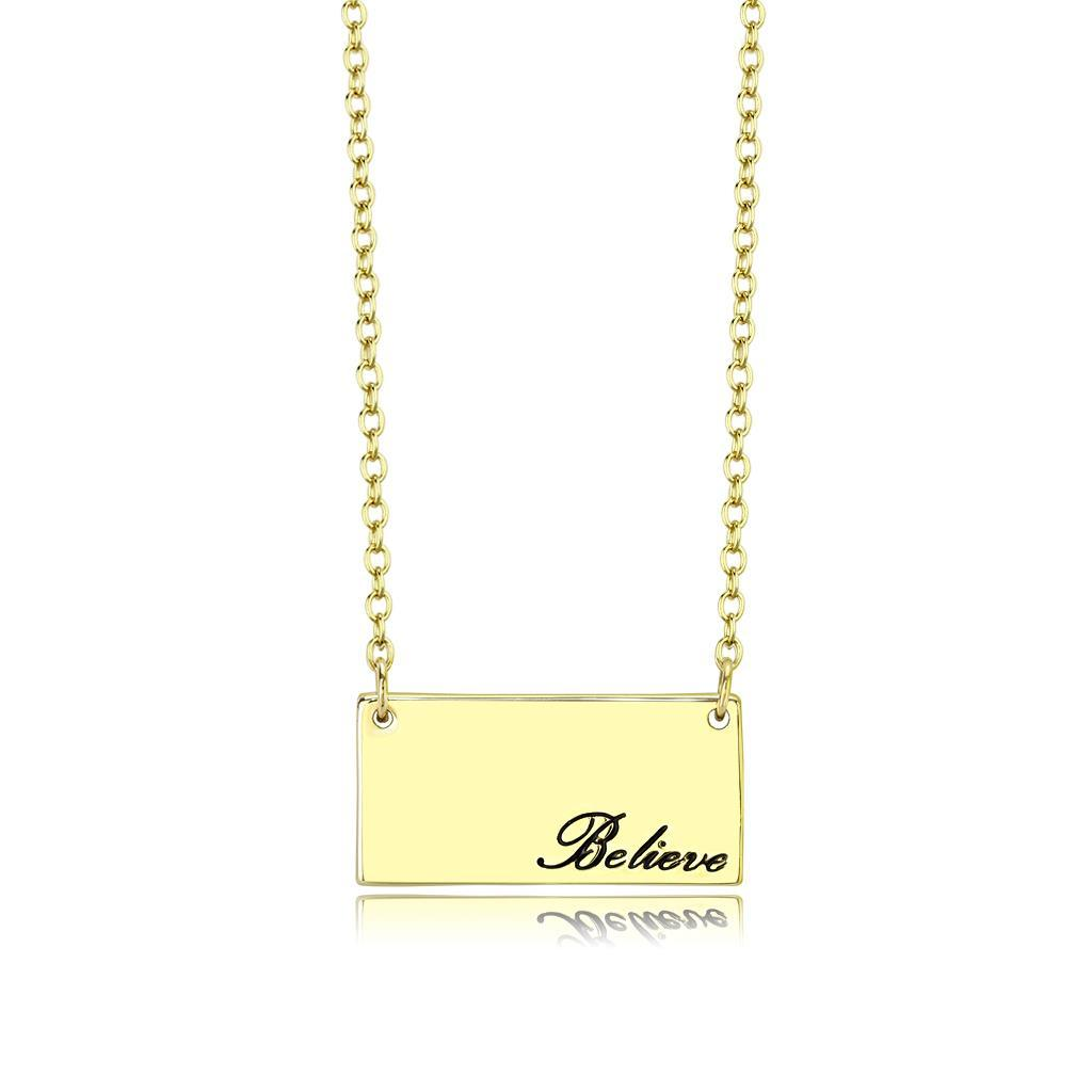 LO4700 - Flash Gold Brass Necklace with Top Grade Crystal  in Clear
