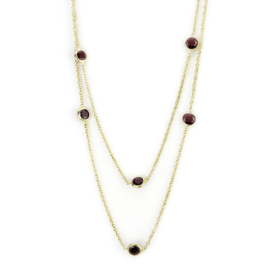 LO4702 - Gold Brass Necklace with AAA Grade CZ  in Garnet