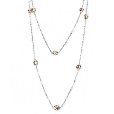 LO4703 Imitation Rhodium Brass Necklace with AAA Grade CZ in Champagne
