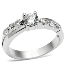 Load image into Gallery viewer, LO4713 - Rhodium Brass Ring with AAA Grade CZ  in Clear