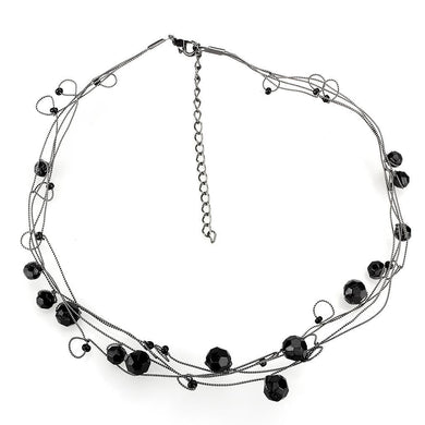 LO4714 - Ruthenium White Metal Necklace with Synthetic Synthetic Glass in Jet