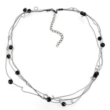 Load image into Gallery viewer, LO4719 - Ruthenium White Metal Necklace with Synthetic Synthetic Glass in Jet