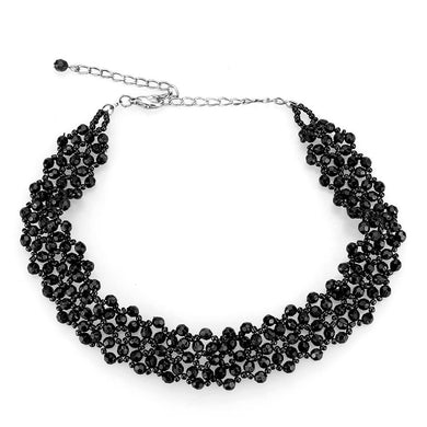LO4720 - Rhodium Stainless Steel Necklace with Synthetic Synthetic Glass in Jet