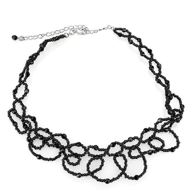 LO4721 - Rhodium Brass Necklace with Synthetic Synthetic Glass in Jet