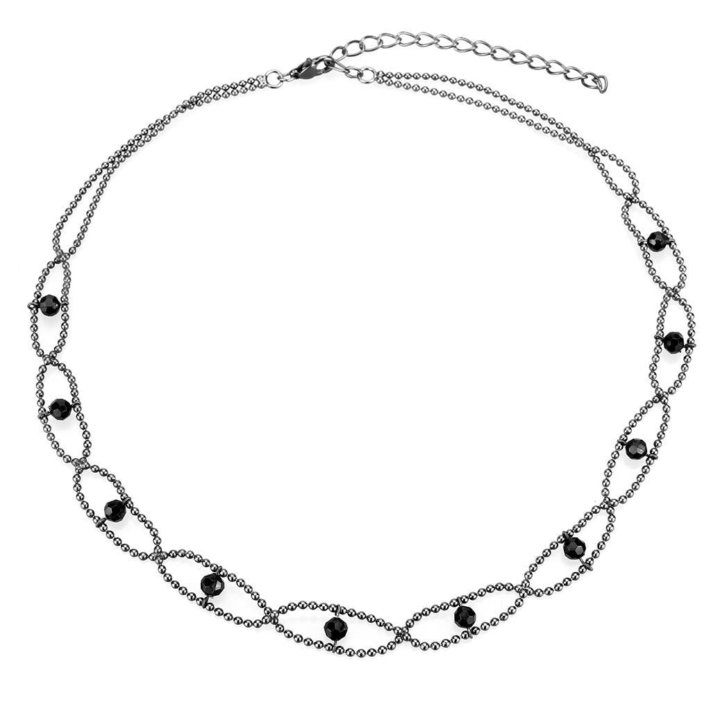 LO4723 - Ruthenium White Metal Necklace with Synthetic Synthetic Glass in Jet