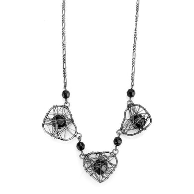 LO4728 - Ruthenium White Metal Necklace with Synthetic Synthetic Glass in Jet
