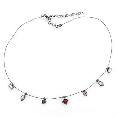 LO4729 - Ruthenium White Metal Necklace with Top Grade Crystal  in Multi Color