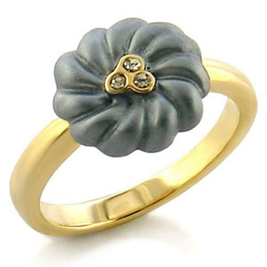 LO503 - Gold White Metal Ring with Top Grade Crystal  in Black Diamond