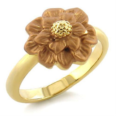 LO505 - Gold White Metal Ring with Top Grade Crystal  in Light Smoked