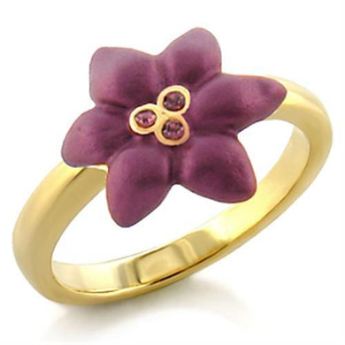 LO513 - Gold White Metal Ring with Top Grade Crystal  in Amethyst
