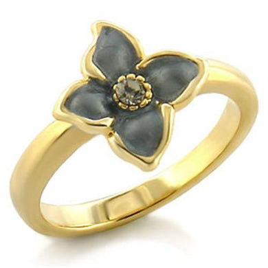 LO518 - Gold White Metal Ring with Top Grade Crystal  in Black Diamond